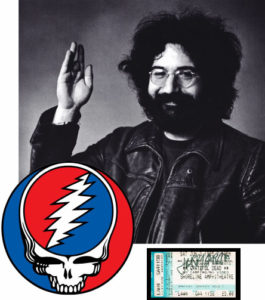 Jerry Garcia photo and signed ticket stub